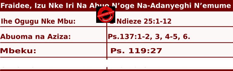 Image of Igbo Mass Readings for June 26, 2020, Fraidee, Izu Nke Iri Na Abuo N'oge Na-Adanyeghi N'emume