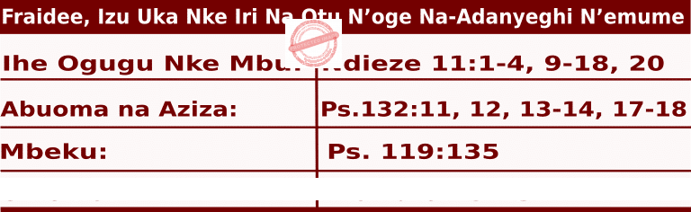 Image of Igbo Readings for  June 19, 2020, Fraidee
