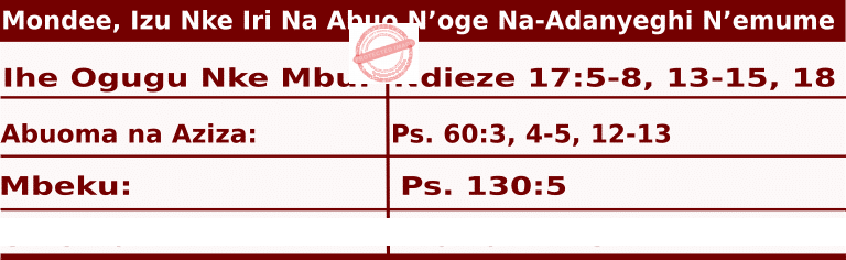Image of Igbo Readings for  June 22, 2020, Mondee
