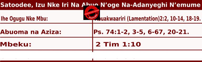Image of Igbo Mass Readings for June 27, 2020, Satoodee, Izu Nke Iri Na Abuo N'oge Na-Adanyeghi N'emume