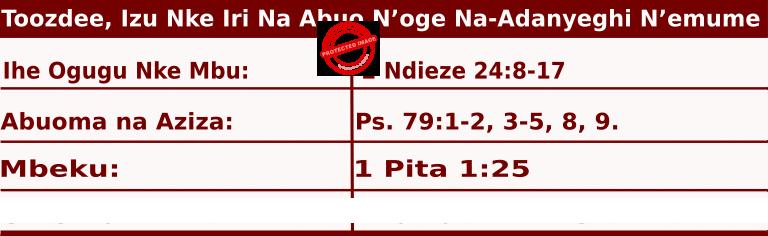 Image of Igbo Readings for  June 25, 2020, Toozdee