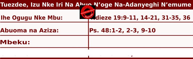 Image of Igbo Readings for  June 23, 2020, Tuezdee