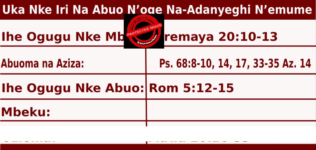 Image of Igbo Readings for June 21, 2020, Uka Nke Iri Na Abuo N'oge Nkiti