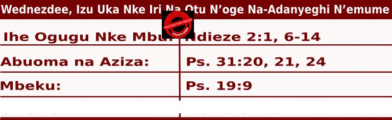 Image of Igbo Readings for  June 17, 2020, Wednezdee