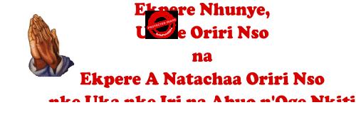 Ekpere Nhunye, Ukwe Oriri Nso na Ekpere A Natachaa Oriri Nso Nke Uka nke Iri na Abuo n'Oge Nkiti