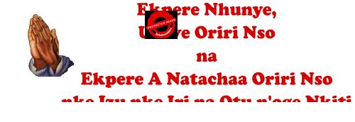 Ekpere Nhunye Ukwe Oriri Nso na Ekpere A Natachaa Oriri Nso nke Izu nke Iri na Otu noge Nkiti