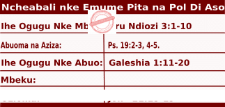 Image of Igbo Readings for Ncheta Pita na Pol Di Aso, Vigil, June 28, 2020