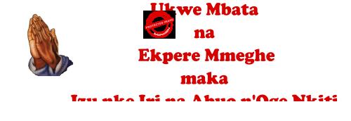 Ukwe Mbata na  Ekpere Mmeghe maka Izu nke Iri na Abuo n'Oge Nkiti