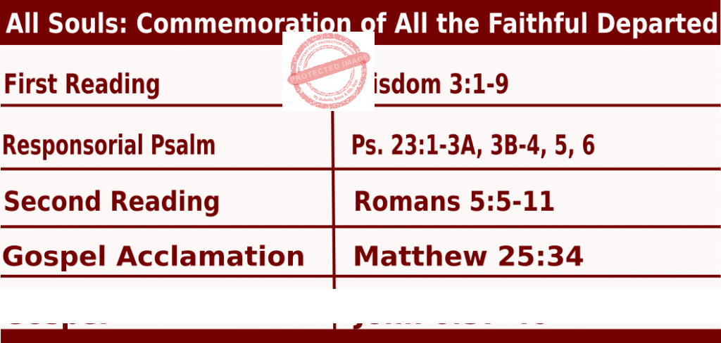 Bible quotations in Mass Readings for November 2 2021, All Souls Day (The Commemoration of All the Faithful Departed) - Catholic Readings for November 2 2021