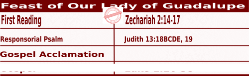 Mass Readings for December 12, 2020, Feast of Our Lady of Guadalupe