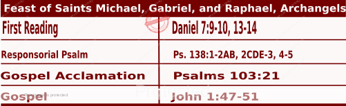Mass Readings Bible Quotations for Daily Readings for September 29, Feast of Saints Michael, Gabriel, and Raphael, archangels