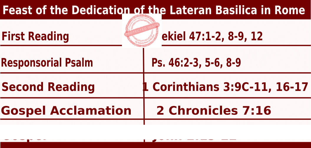 Bible quotations in Mass Readings for November 9 2021, Feast of the Dedication of the Lateran Basilica in Rome - Catholic Readings for November 9 2021