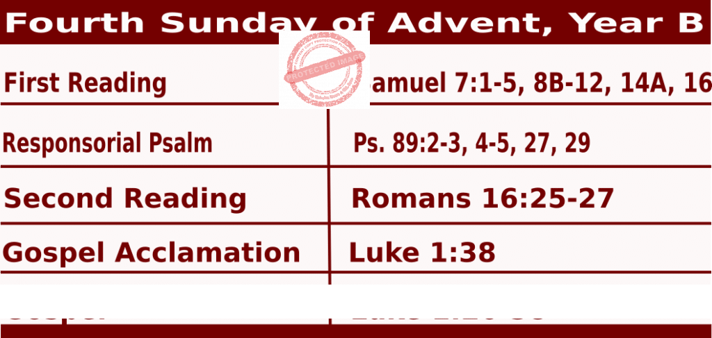 Mass Readings for December 20, 2020, Fourth Sunday of Advent, Year B
