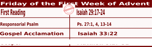 Bible quotations for Mass Readings for December 3 2021,  Friday of the First Week of Advent - Catholic Readings for  December 3 2021