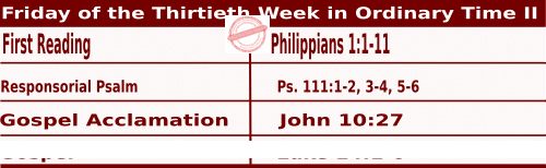 Daily Mass Readings for October 30, 2020, Friday of the Thirtieth Week in Ordinary Time