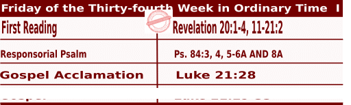 Mass Readings for November 27, 2020, Friday of the Thirty-fourth Week in Ordinary Time
