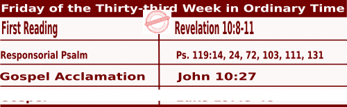 Mass Readings for November 20, 2020, Friday of the Thirty-third Week in Ordinary Time II
