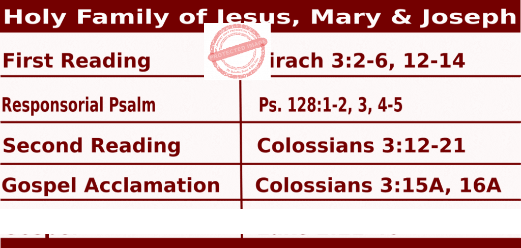 Mass Readings for Holy Family of Jesus, Mary & Joseph