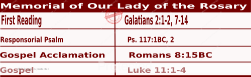 Mass Readings for October 7, 2020, Memorial of Our Lady of the Rosary