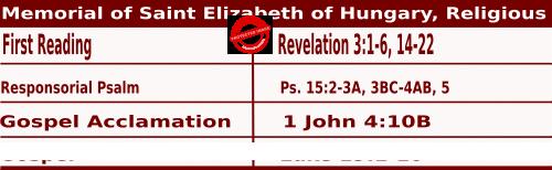 Mass Readings for November 17, 2020, Memorial of Saint Elizabeth of Hungary, Religious