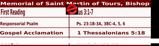 Mass Readings for November 11, 2020, Memorial of Saint Martin of Tours, Bishop