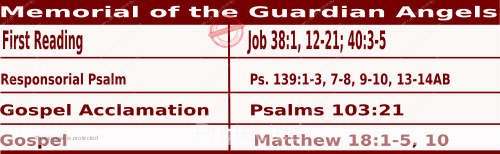 Mass Readings Bible Quotations for Daily Readings for October 2, Memorial of the Guardian Angels
