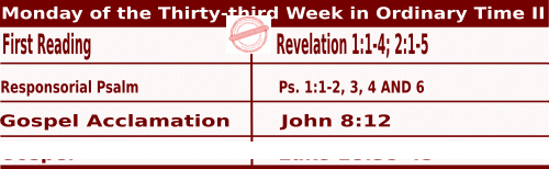 Mass Readings for November 16, 2020, Monday of the Thirty-third Week in Ordinary Time
