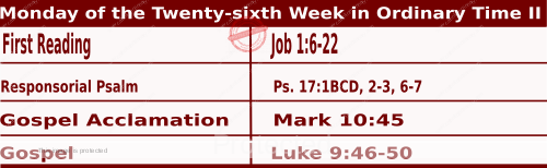 Mass Readings Bible Quotations for  Daily Readings for September 28, Monday of the Twenty-sixth Week in Ordinary Time
