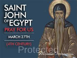 Saint of the Day for March 27, Saint John of Egypt