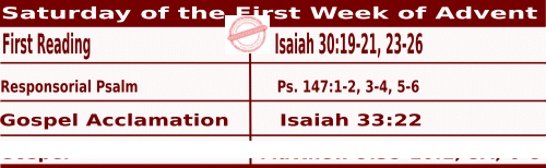 Bible quotations for Mass Readings for December 4 2021, Saturday of the First Week of Advent - Catholic Readings for December 4 2021