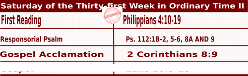 Mass Readings for November 7, 2020, Saturday of the Thirty-first Week in Ordinary Time