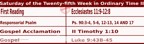 Image of Daily Readings for September 26, Saturday of the Twenty-fifth Week in Ordinary Time