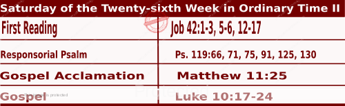 Mass Readings Bible Quotations for Daily readings for October 3, Saturday of the Twenty-sixth Week in Ordinary Time