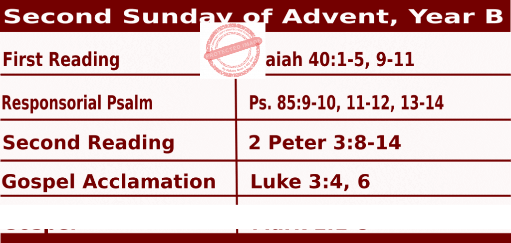 Mass Readings for December 6, 2020, Second Sunday of Advent, Year B
