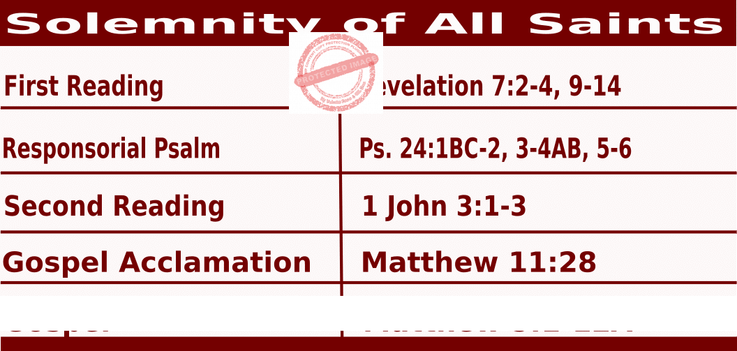 Bible quotations in Mass Readings for November 1 2021, Solemnity of All Saints (All Saints Day) - Catholic Readings for November 1 2021