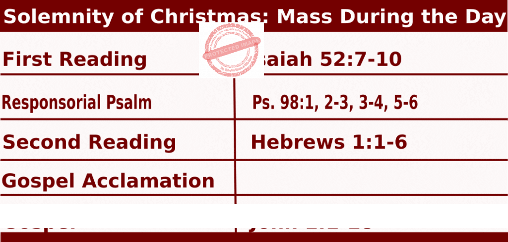 Mass Readings for Christmas Day, Solemnity of Christmas: Mass During the Day