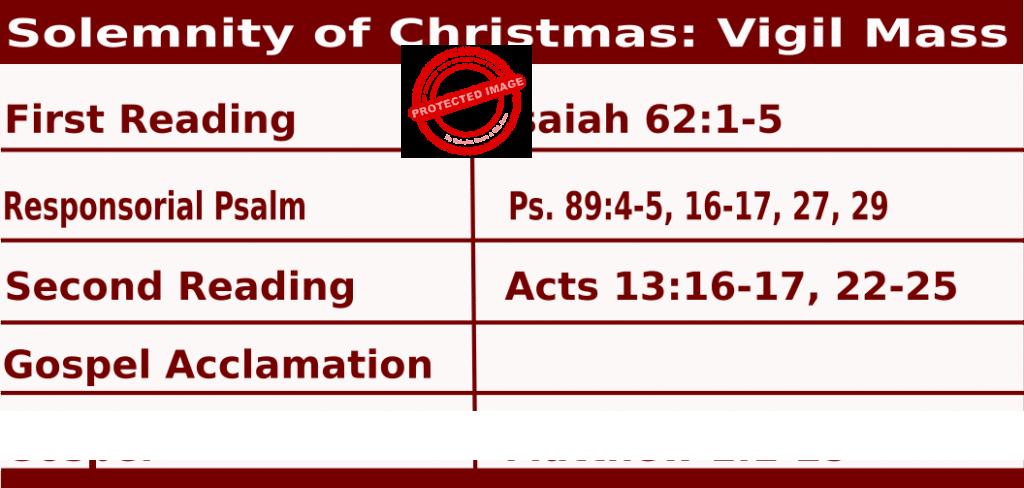 Mass Readings for Christmas Vigil Mass December 24, 2020