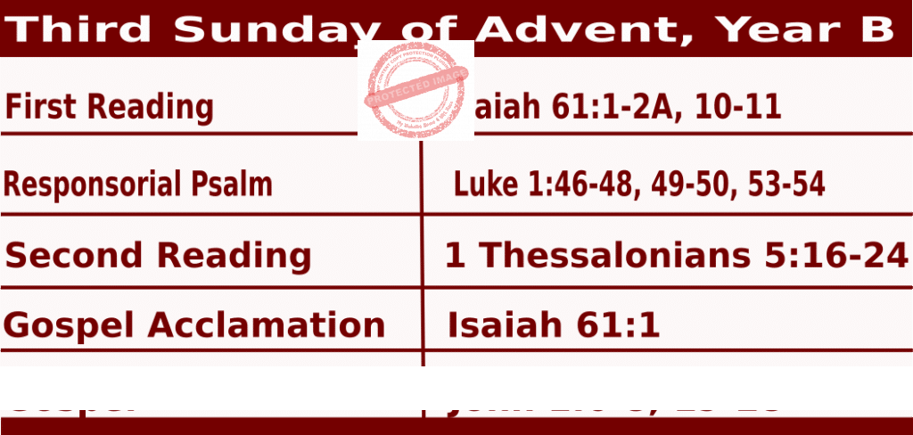 Mass Readings for December 13, 2020, Third Sunday of Advent, Year B
