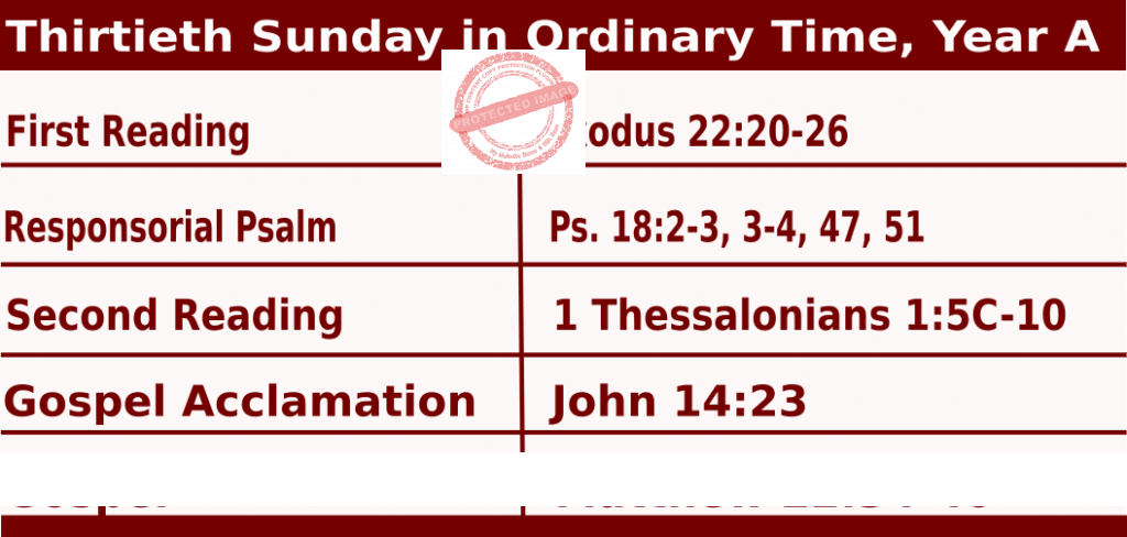 Mass Readings for October 25, 2020, Thirtieth Sunday in Ordinary Time, Year A