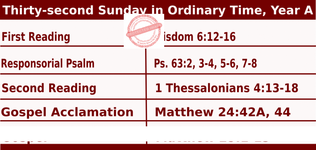 Mass Readings for November 8, 2020, Thirty-second Sunday in Ordinary Time, Year A