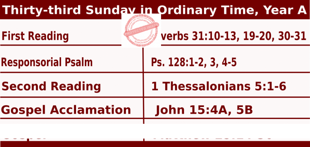 Mass Readings for November 15, 2020, Thirty-third Sunday in Ordinary Time, Year A