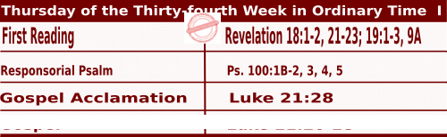 Mass Readings for November 26, 2020, Thursday of the Thirty-fourth Week in Ordinary Time