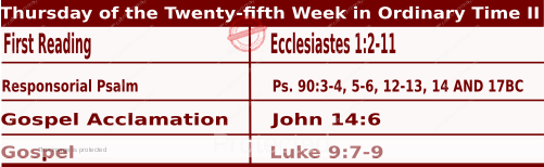 Image of Daily Readings for September 24, Thursday of the Twenty-fifth Week in Ordinary Time
