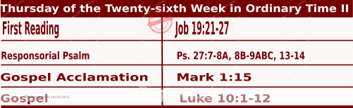 Mass Readings Bible Quotations for Daily Readings for October 1, Thursday of the Twenty-sixth Week in Ordinary Time