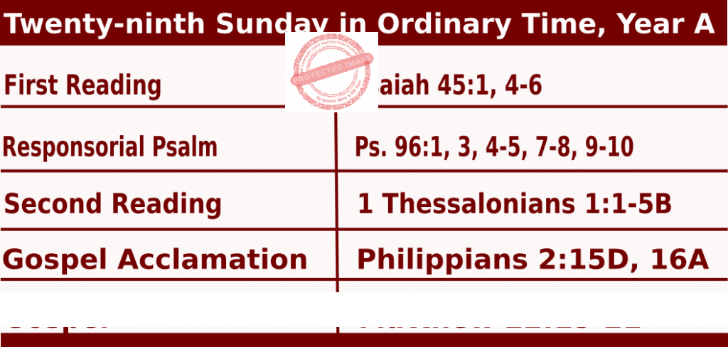 Mass Readings for October 18, 2020, Twenty-ninth Sunday in Ordinary Time, Year A