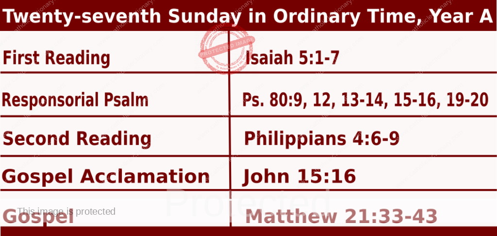 Mass Readings Bible Quotations for  Daily Readings for October 4, Twenty-seventh Sunday in Ordinary Time, Year A