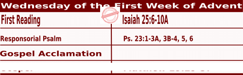 Bible quotations for Mass Readings for December 1 2021, Wednesday of the First Week of Advent - Catholic Readings for December 1 2021