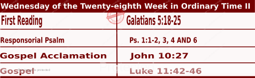 Mass Readings for October 14, 2020, Wednesday of the Twenty-eighth Week in Ordinary Time