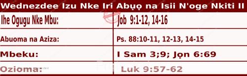 Igbo Readings for  September 30, 2020, Wednezdee Izu Nke Iri Abụọ na Isii