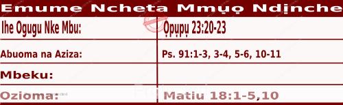 Igbo Mass Readings October 2, 2020, Emume Ncheta Mmụọ Ndịnche